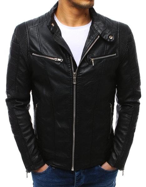 Koženková čierna pánska bunda