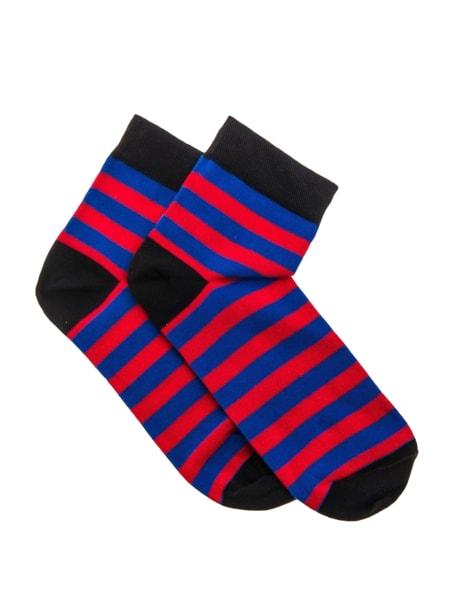 Pánske ponožky pásikované červeno-modre U07