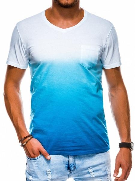 Štýlové modré bavlnené tričko s1036