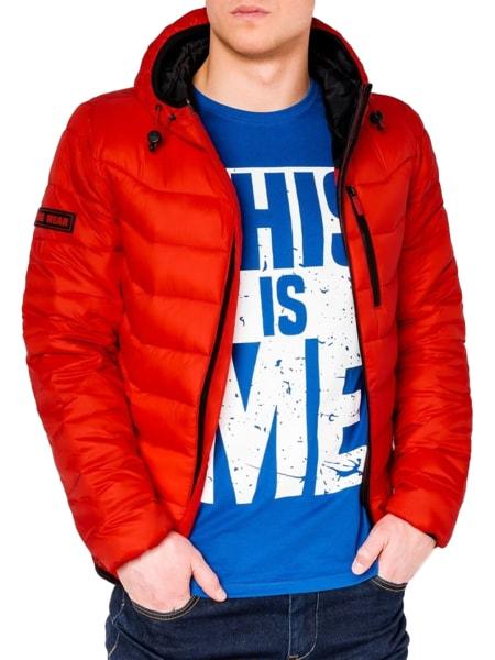 Štýlová pánska zimná bunda červená c371