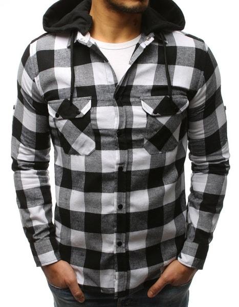Bielo-čierna kockovaná košeľa s kapucňou
