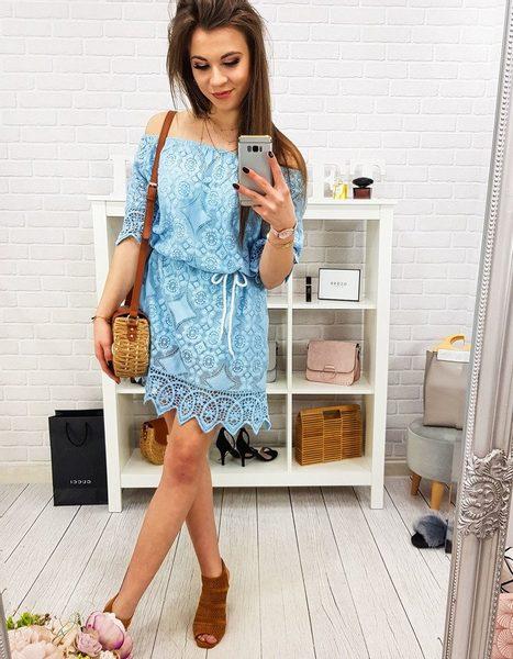 Jedinečné modré dámske šaty SOLLER