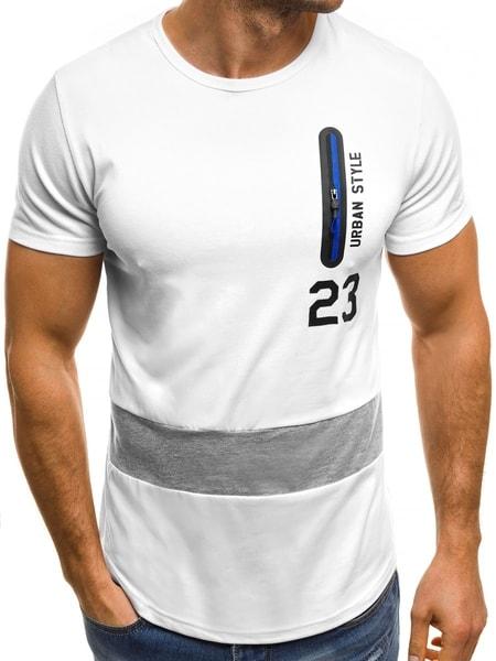 Biele tričko so zipsom JS/SS320