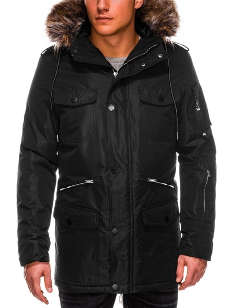 Štýlová čierna zimná bunda c410