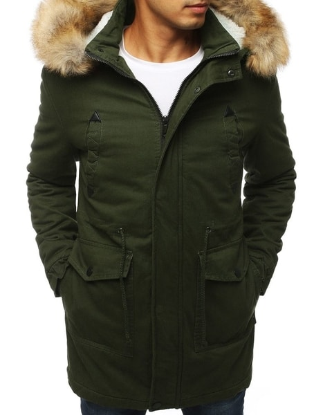 Zimná zelená bunda s kapucňou