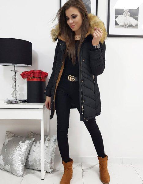 Dámska čierna zimná bunda