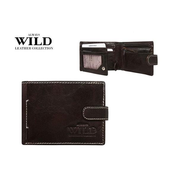 Prešívaná hnedá pánska peňaženka