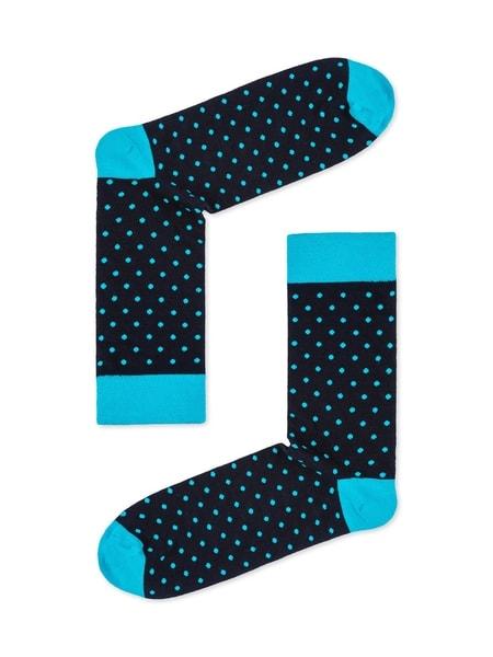 Modré pánske bodkované ponožky