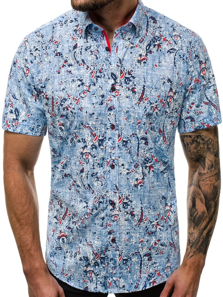 Modrá vzorovaná pánska košeľa V/K123