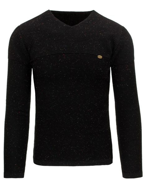 Čierny moderný sveter s farebnými bodkami
