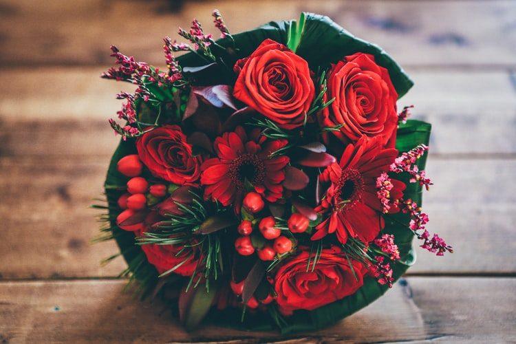 valentínska kytica kvetov