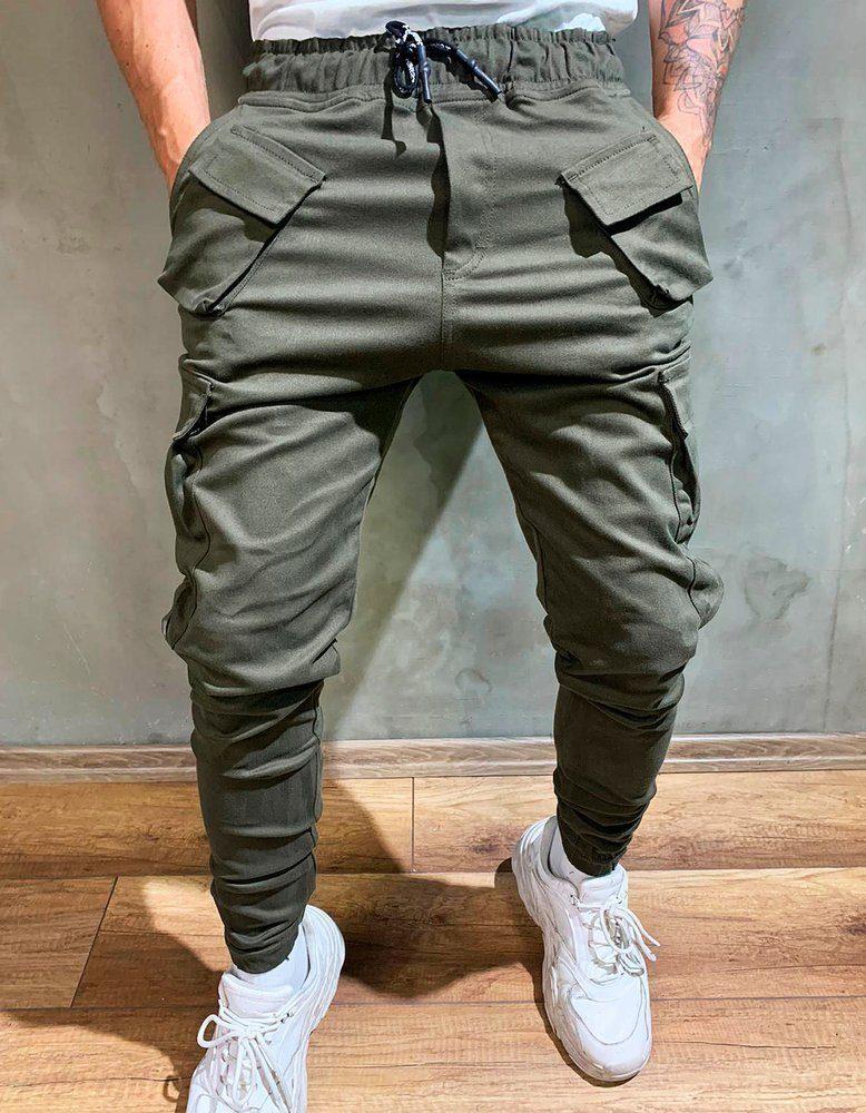 zelená cargo nohavice typu jogger
