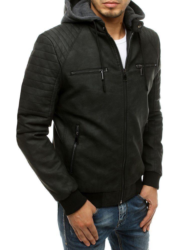 pánska čierna kožená bunda s odnímateľnou šedou kapucňou