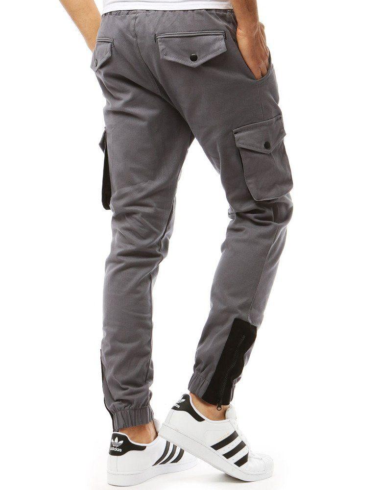 šedé pánske športové cargo nohavice