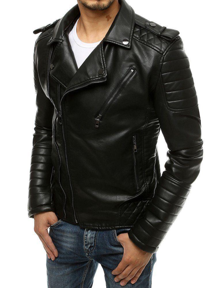pánska čierna kožená bunda v motorkárskom štýle