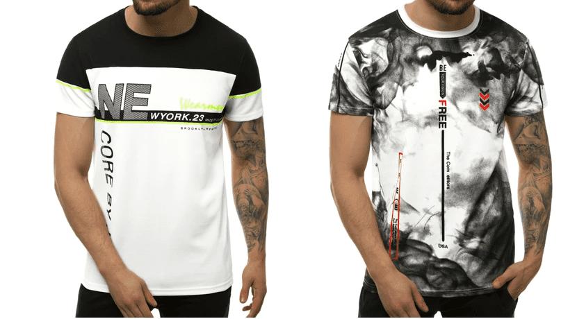 panske tričká čierno-biele