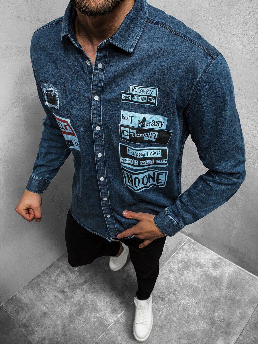 moderná rifľová pánska košeľa