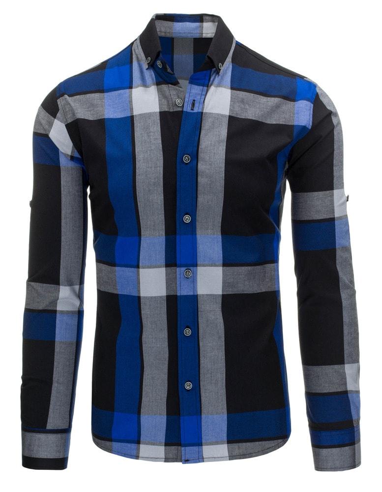 5970d5abcb47 Pohodlná čierno-modrá pánska košeľa s dlhým rukávom - Budchlap.sk
