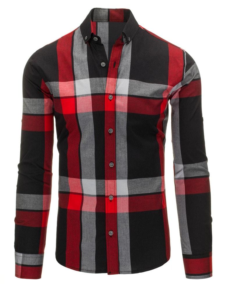 d39d2253b2b4 Kockovaná pánska košeľa čierno - červenej farby - Budchlap.sk