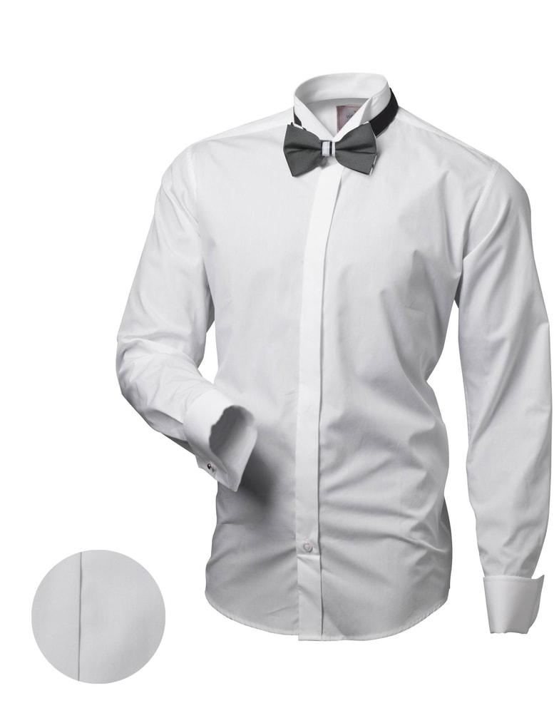 bc2fbb57c368 Elegantná biela pánska košeľa V044 - Budchlap.sk