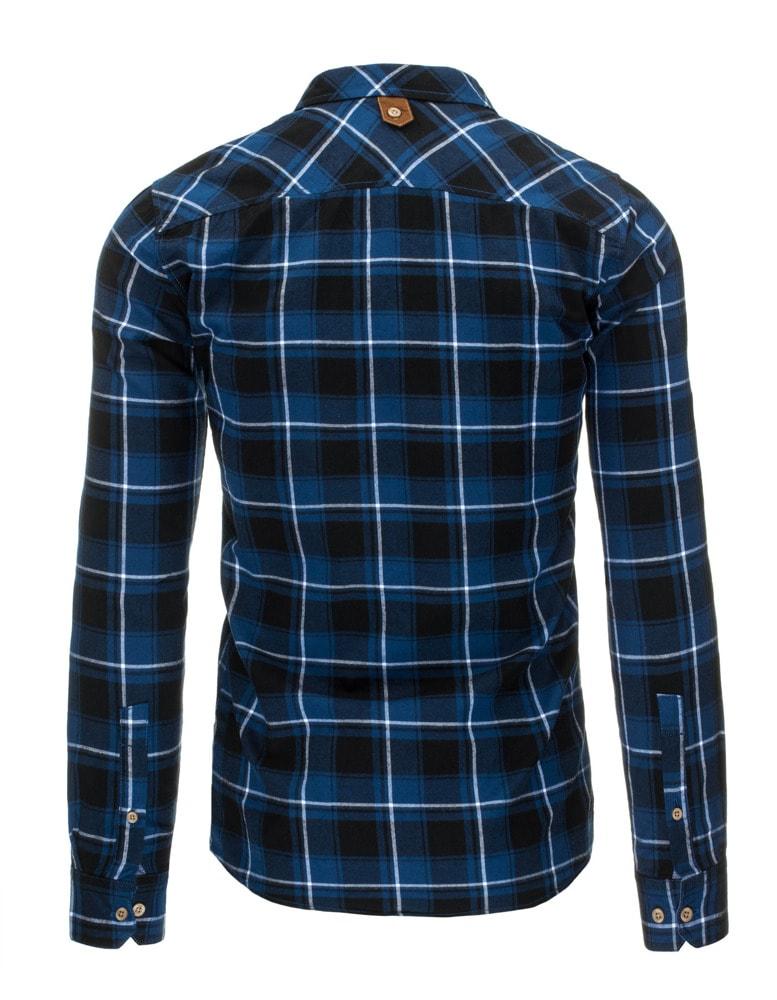 88b66a5d58b3 Modro-čierna kockovaná flanelová pánska košeľa - Budchlap.sk
