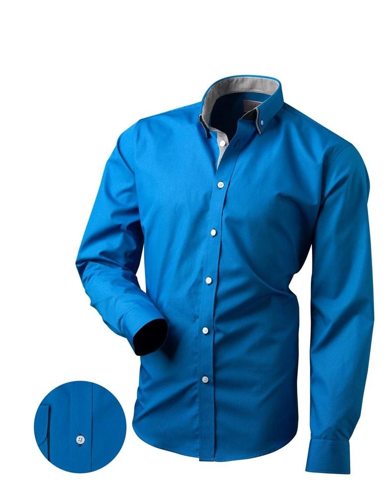 6ebc64249c46 Krásna modrá pánska košeľa V168 - Budchlap.sk
