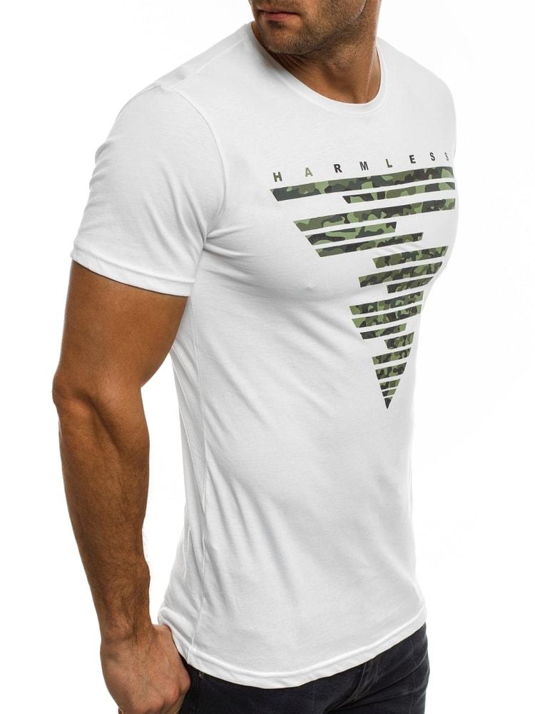 941cef8d3881d Biele bavlnené tričko s potlačou v maskáčovom dizajne BREEZY 372 ...