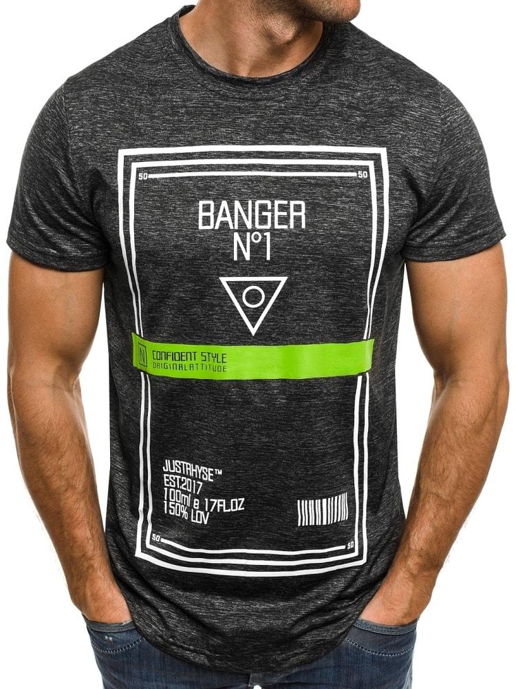 d3f0a589d Čierne tričko BANGER so zeleným pásikom J. STYLE SS073 - Budchlap.sk