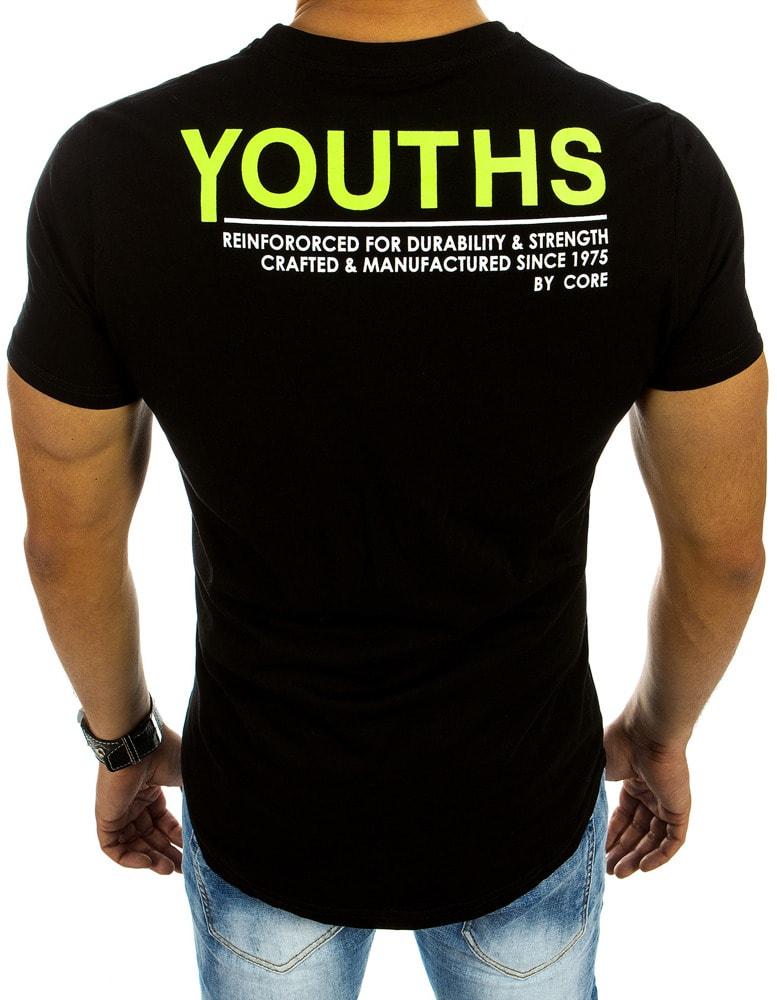 2883e9b3834f Pánske tričko v čiernej farbe s potlačou písmena - Budchlap.sk