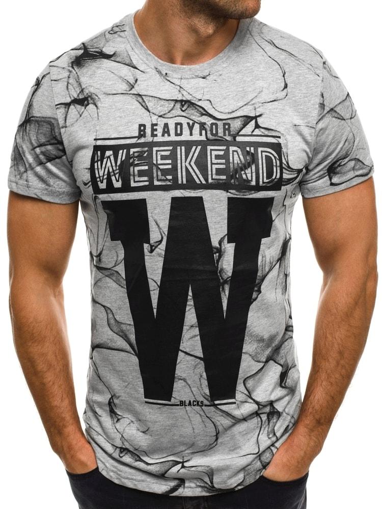 818bbd624 Sivé tričko WEEKEND s potlačou J.STYLE SS106 - Budchlap.sk