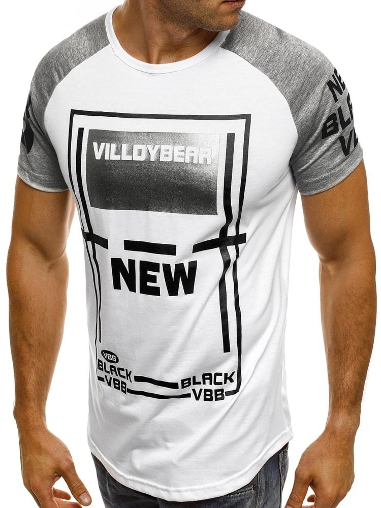 eb28762188f4 Biele tričko s metalickou potlačou J.STYLE SS157 - Budchlap.sk