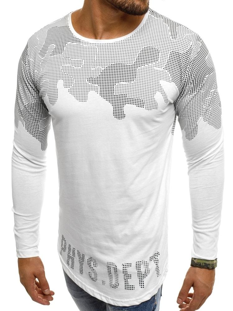 66badc6e02cd7 Nevšedné biele tričko s potlačou BREEZY 171403 - Budchlap.sk