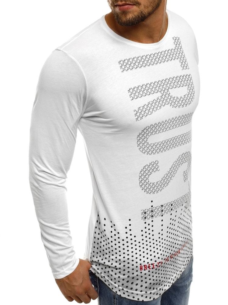 9068beb219f8e Módne biele tričko s potlačou BREEZY 171401 - Budchlap.sk