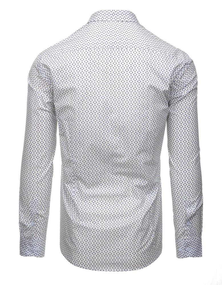 2a5b766a9be7 Vzorovaná biela košeľa s dlhým rukávom - Budchlap.sk
