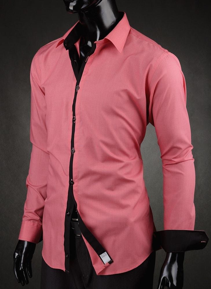 dd39dd1e0779 Ružová pánska košeľa slim fit V010 - Budchlap.sk