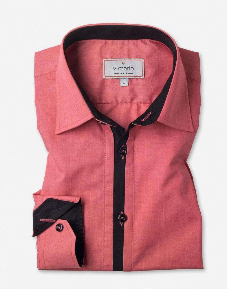 fff00225c734 Ružová pánska košeľa slim fit V010 - Budchlap.sk