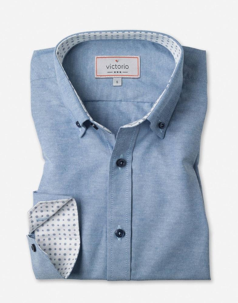 3d54467f6 Trendy modrá slim fit pánska košeľa - Budchlap.sk