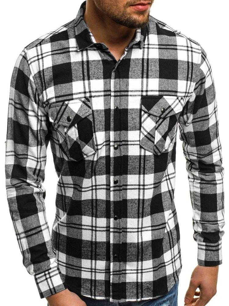12cef153c1d0 Bielo-čierna košeľa NORTHIST 2502 - Budchlap.sk