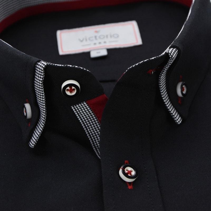 6e095db20f97 Čierna pánska košeľa s kontrastnými prvkami V286 - Budchlap.sk