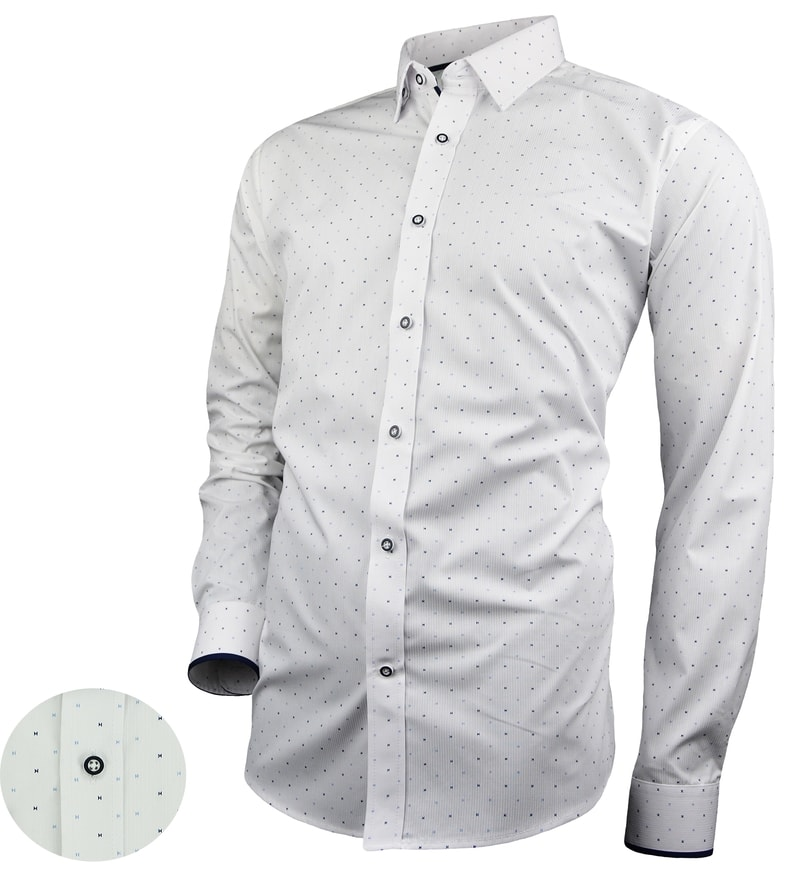 2e6cba05d178 Štýlová pánska biela košeľa s jemným vzorom V276 - Budchlap.sk