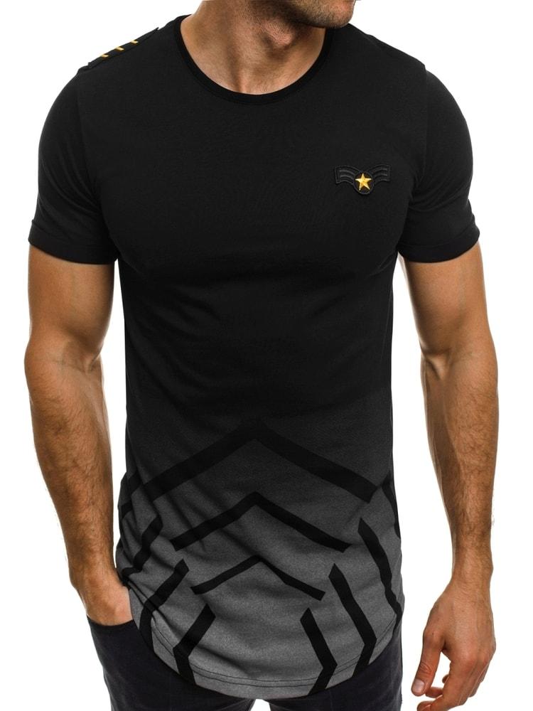 742265fdc Čierne pánske tričko s vojenskou nášivkou BREEZY 541 - Budchlap.sk