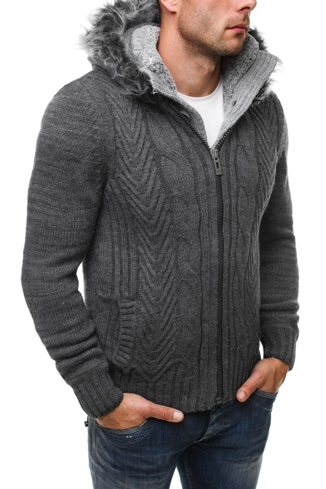 ceb268339425 Grafitový sveter na zimu 4804 - Budchlap.sk