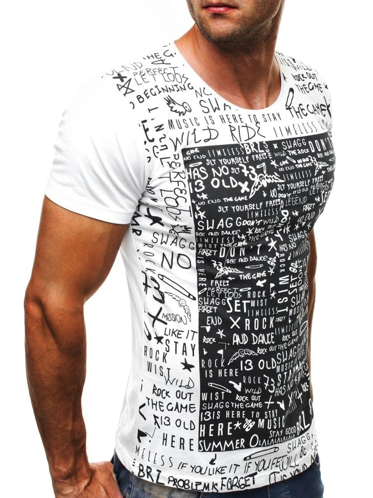 dad19337c8b3c Biele tričko so štýlovou potlačou BREEZY 9055 - Budchlap.sk