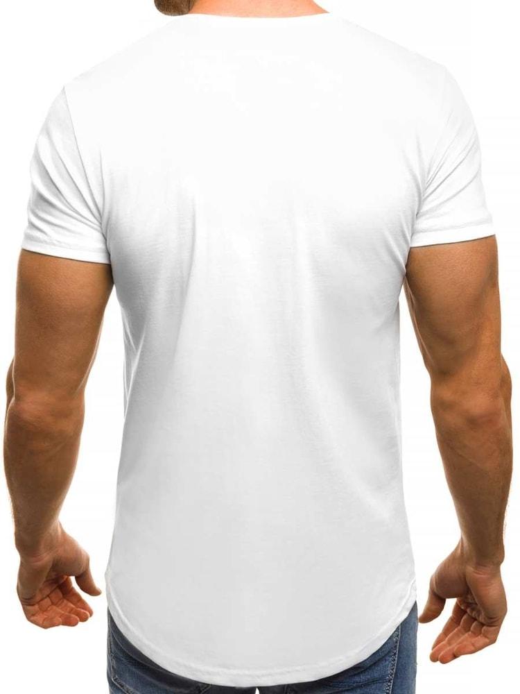cdadace5f950 Biele pánske tričko s potlačou OZONEE B 181403 - Budchlap.sk