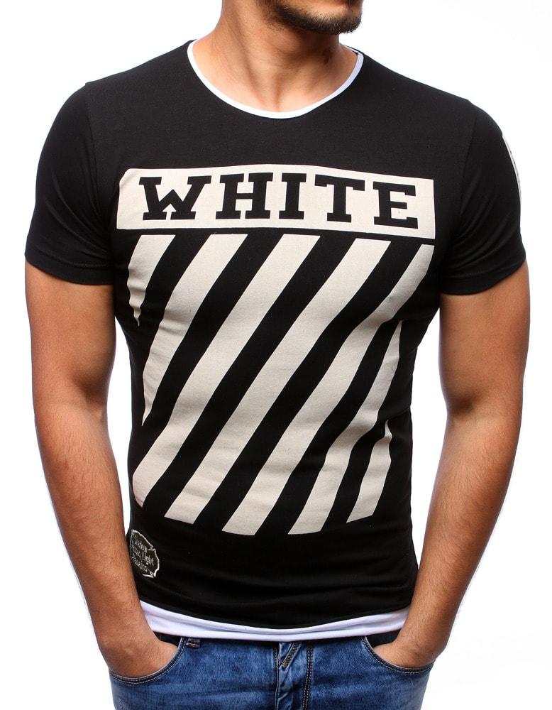 e28db1aa815b WHITE pánske čierne tričko - Budchlap.sk