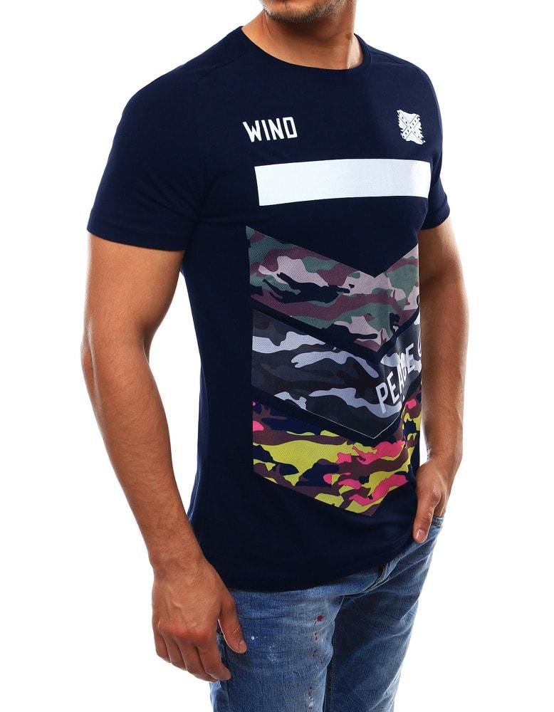 8c4a0e23f11f Tmavo-modré pánske tričko WIND - Budchlap.sk