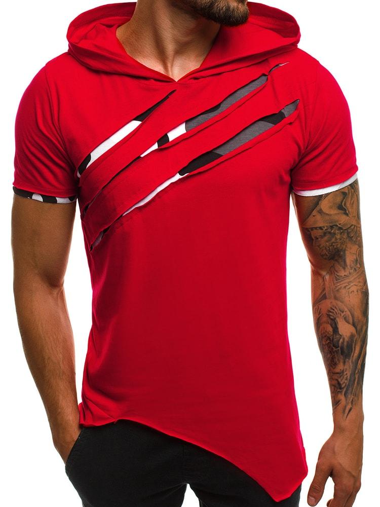 c5b0a66e7ee0 Červené asymetrické tričko pre pánov OZONEE A 1185 - Budchlap.sk