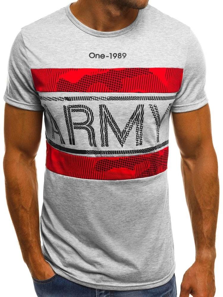 17444c1aef10 Šedé tričko s nápisom ARMY OZONEE JS SS570 - Budchlap.sk