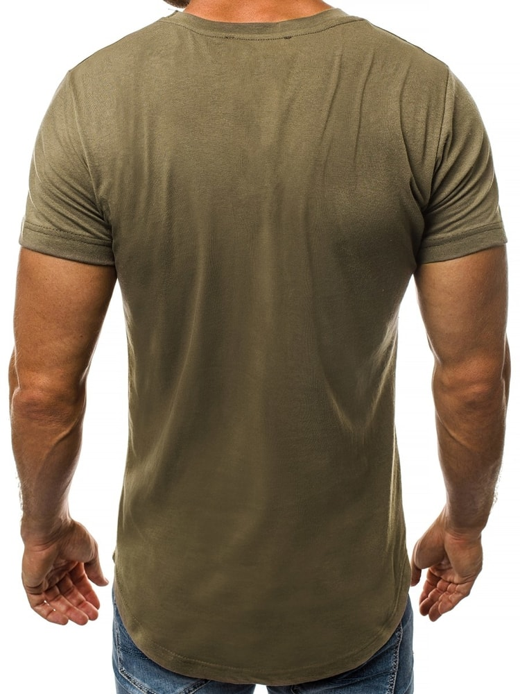 7aad4c92db00 Khaki tričko s V výstrihom O 1210 - Budchlap.sk
