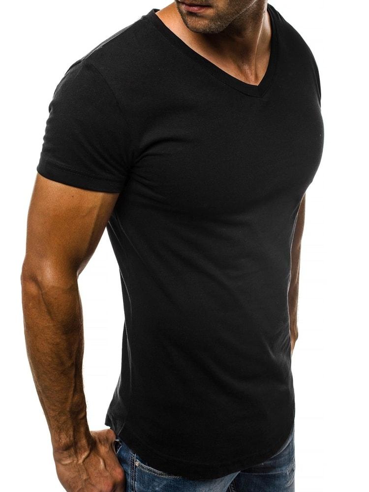 cb931e628487 Čierne tričko s V výstrihom O 1210 - Budchlap.sk